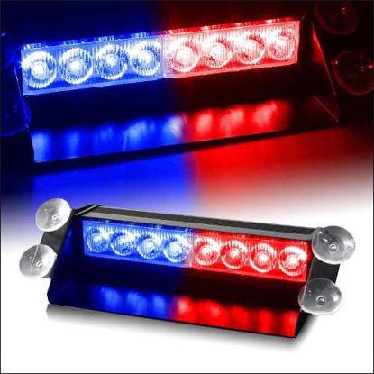 Imagem de C732 - Estrobo p/ Parabrisa 2x4 LEDs  Azul/Vermelho 12V