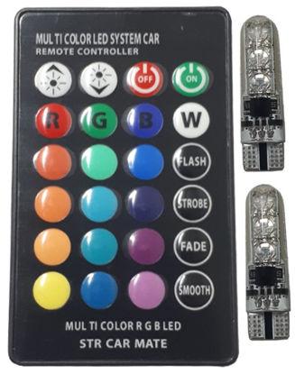 Imagem de C371 - Kit T10 6 5050 RGB (2 lampadas + controle) (s/ sincronismo)