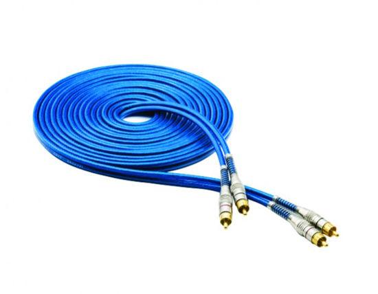 Imagem de RCA5MAZT1 - Cabo RCA Prime Plug Metal Azul 4mm 5m Svart TechOne