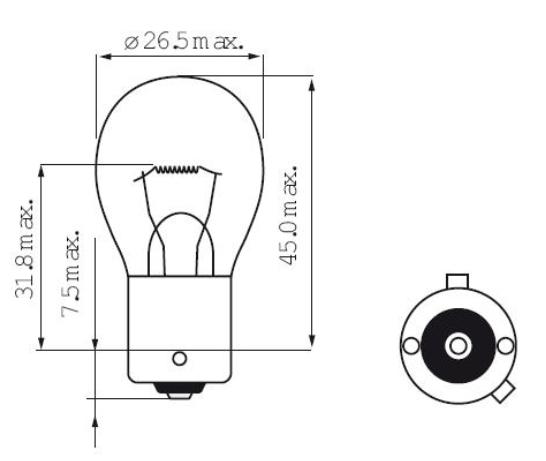 Imagem de LH24V1056 - 1056 Ambar 1 Polo 24V 21W Convencional (pinno Y)