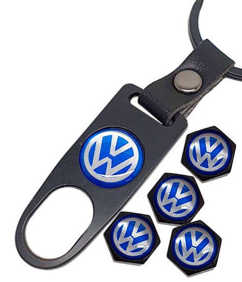Imagem de TB-VW - Tampa de Válvula/Bico/Ventil VOLKSWAGEN VW Preta c/ Chaveiro