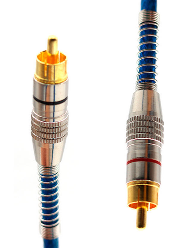 Imagem de RCA1MAZT1  -  Cabo RCA Prime Plug Metal Azul 5mm 1m Svart TechOne